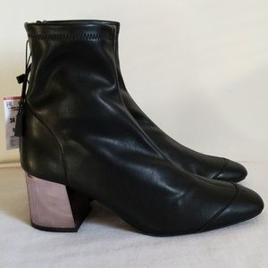 New Zara Black Mirror Heel Ankle Boots